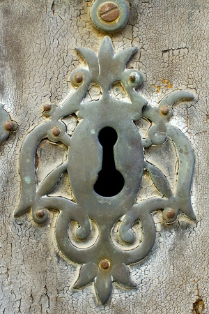 old copper keyhole on the peeled-off wooden basis Stock Photo - 16938071
