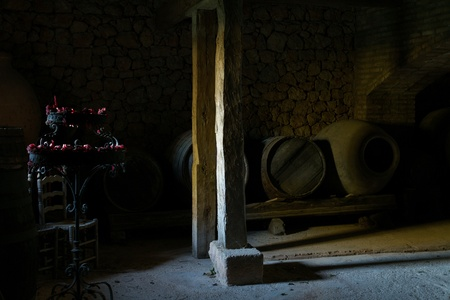 Wine cellar with a candelabrum