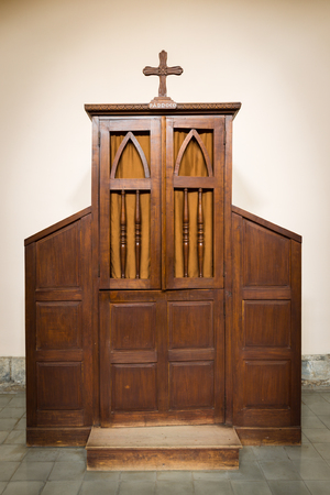 antique booth: Confessional The room keeping secret of a confession