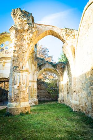 Ruins of the Catholic monastery. Fall. Stock Photo