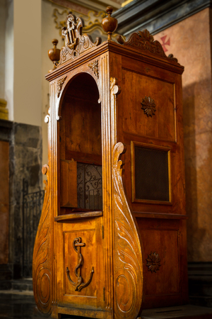 confession: confession room in church