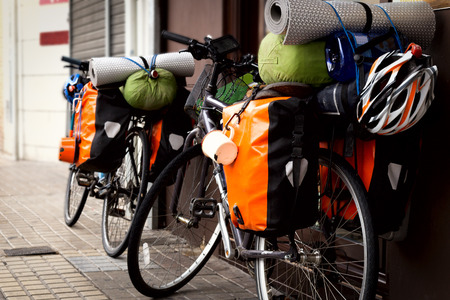 The bicycle ready to the road, loaded by the most necessary for the traveler.