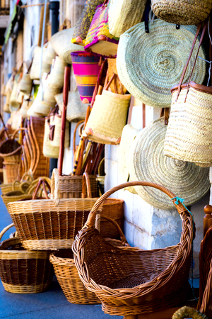 Various baskets and bags from a rod and other natural materials Stock Photo