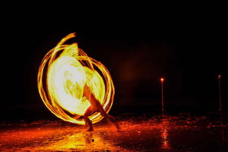 Amazing Fire Show at night on Khoa chang Island, Thailand Editoriali