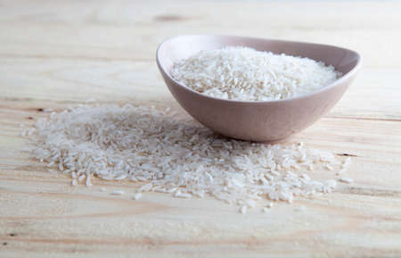 Uncooked rice in a bowl
