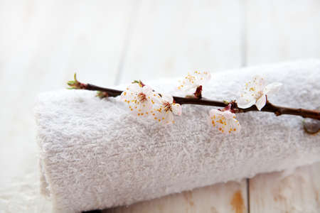 relaxation background: Towel and cherry blossoms on white background Stock Photo