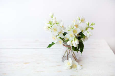 jasmine flower: Fragrant jasmine bouquet in a vase on  on white wooden table.selective focus