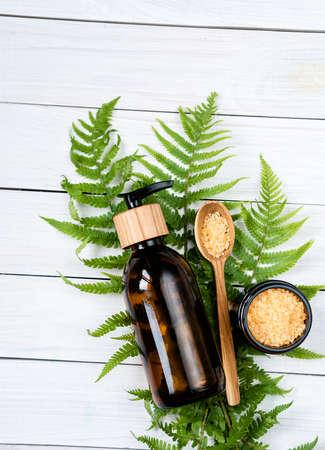 Eco-friendly cosmetics. scrub and bath salt with leaf on white background.zero waste spa set