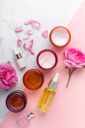 Healthy lifestyle concept. Beauty, skin care. flat lay. Set of face masks and Imagens