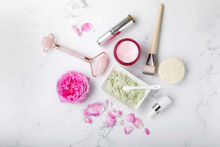 Spa beauty products for body and face home skin care, view from above on various spa treatment stuff, flat lay.