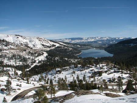 donner: Donner Lake California from old Soda Springs Road. Stock Photo