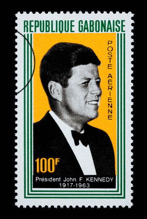 GABON - CIRCA 1960: A postage stamp printed in Gabon showing John F. Kennedy, circa 1960