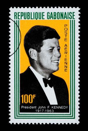 jfk: GABON - CIRCA 1960: A postage stamp printed in Gabon showing John F. Kennedy, circa 1960 Editorial