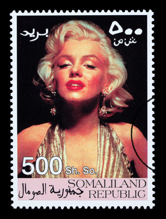 marilyn: SOMALILAND - CIRCA 2000: A postage stamp printed in Somaliland showing Marilyn Monroe, circa 2000