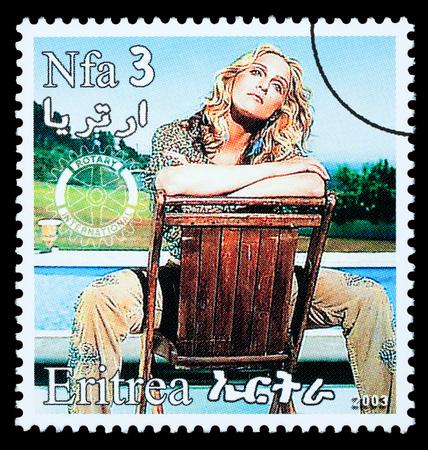 ERITREA - CIRCA 2000: A postage stamp printed in Eritrea showing Madonna Louise Ciccone, circa 2000