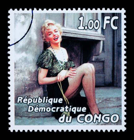 REPUBLIC OF CONGO - CIRCA 2005: A postage stamp printed in the Republic Of Congo showing Marilyn Monroe, circa 2005 Editöryel
