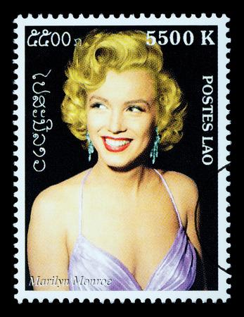LAOS - CIRCA 2000: A postage stamp printed in Laos showing Marilyn Monroe; circa 2000