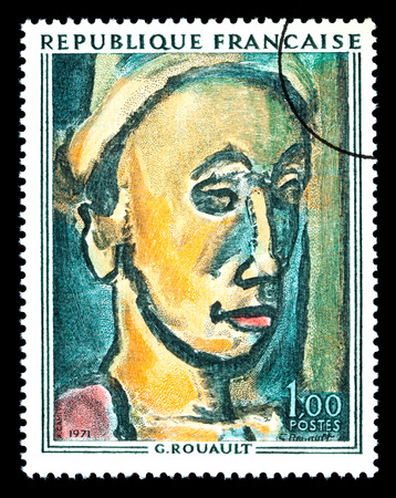 FRANCE - CIRCA 1971: A postage stamp printed in France showing a painting by Georges Henri Rouault, circa 1971