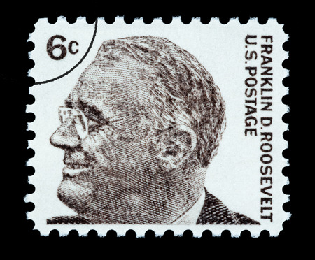 UNITED STATES AMERICA - CIRCA 1970: A postage stamp printed in the USA showing Franklin Delano Roosevelt, circa 1970 Editorial