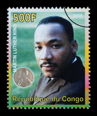 martin luther king: CONGO REPUBLIC - CIRCA 2008: A postage stamp printed in the Republic of Congo showing Martin Luther King, circa 2008