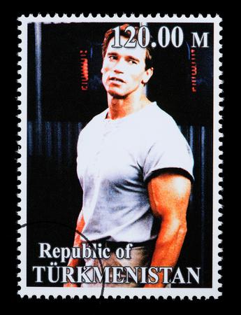 REPUBLIC OF TURKMENISTAN - CIRCA 2005: A postage stamp printed in Turkmenistan showing  Arnold Schwarzenegger, circa 2005 Stock Photo - 28306809