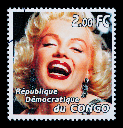 marilyn: CONGO REPUBLIC - CIRCA 2005: A postage stamp printed in the Republic of Congo showing Marilyn Monroe, circa 2005