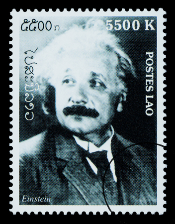 LAOS - CIRCA 1999: A postage stamp printed in Laos showing Albert Einstein, circa 1999
