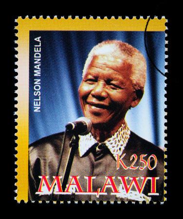 MALAWI - CIRCA 2004: A postage stamp printed in Malawi showing Nelson Mandela, circa 2004 Redakční