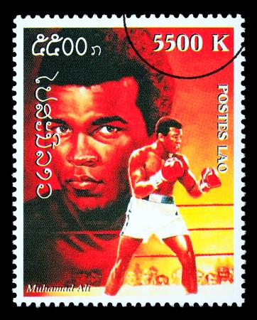 muhammad: LAOS - CIRCA 1999: A postage stamp printed in Laos showing Muhammad; Ali, circa 1999 Editorial