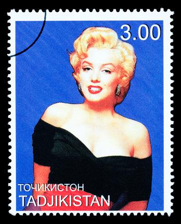 TADJIKISTAN - CIRCA 2000: A postage stamp printed in Tadjikistan showing Marilyn Monroe, circa 2000