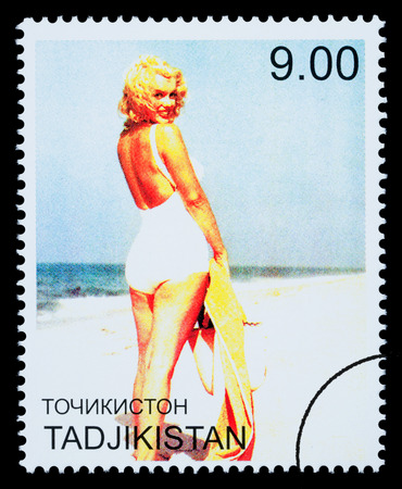 marilyn: TADJIKISTAN - CIRCA 2000: A postage stamp printed in Tadjikistan showing Marilyn Monroe, circa 2000