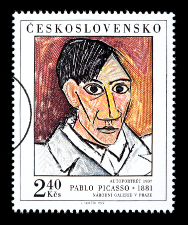 CZECHLOVOKIA - CIRCA 1972: A postage stamp printed in Czechlovokia showing Pablo Picasso, circa 1972