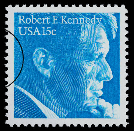 f 15: UNITED STATES AMERICA - CIRCA 1960: A postage stamp printed in the USA showing Robert F. Kennedy, circa 1960