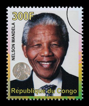 mandela: REPUBLIC OF CONGO - CIRCA 2000: A postage stamp printed in the Republic of Congo showing Nelson Mandela, circa 2000