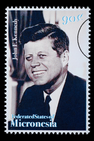 kennedy: FEDERATED STATES MICRONESIA - CIRCA 1990: A postage stamp printed in FSM showing John F. Kennedy, circa 1990 Editorial