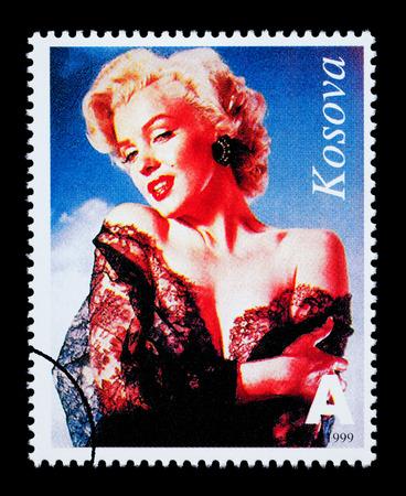 marilyn: REPUBLIC OF KOSOVO - CIRCA 1999: A postage stamp printed in the Republic Of Kosovo showing Marilyn Monroe, circa 1999