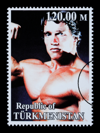 REPUBLIC OF TURKMENISTAN - CIRCA 2005: A postage stamp printed in Turkmenistan showing  Arnold Schwarzenegger, circa 2005 Stock Photo - 28306839