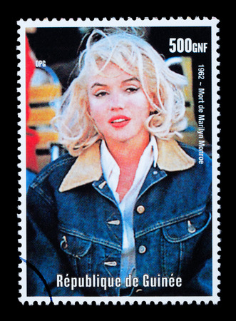 REPUBLIC OF GUINEA - CIRCA 2000: A postage stamp printed in Guinea showing  Marilyn Monroe, circa 2000