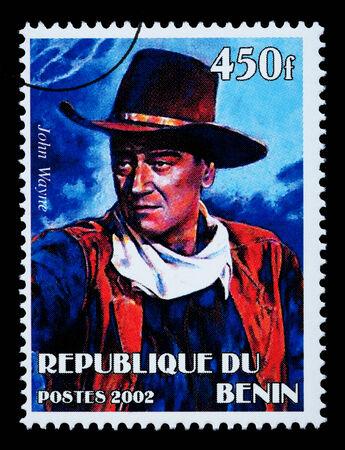 BENIN REPUBLIC - CIRCA 2002: A postage stamp printed in the Benin Republic showing John Wayne, circa 2002