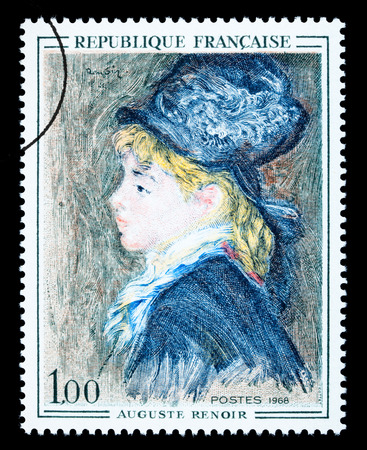 FRANCE - CIRCA 1968: A postage stamp printed in France showing a painting by Pierre-Auguste Renoir, circa 1968