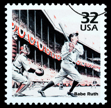 UNITED STATES - CIRCA 2002: A postage stamp printed in the USA showing Babe Ruth, circa 2002