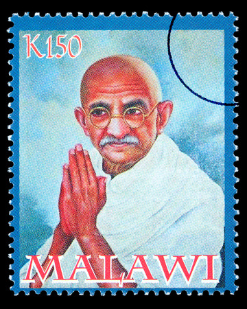 MALAWI - CIRCA 2004: A postage stamp printed in Malawi showing Mohandas Karamchand Gandhi, circa 2004
