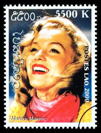 marilyn: LAOS - CIRCA 2000: A postage stamp printed in Laos showing Marilyn Monroe; circa 2000 Editorial