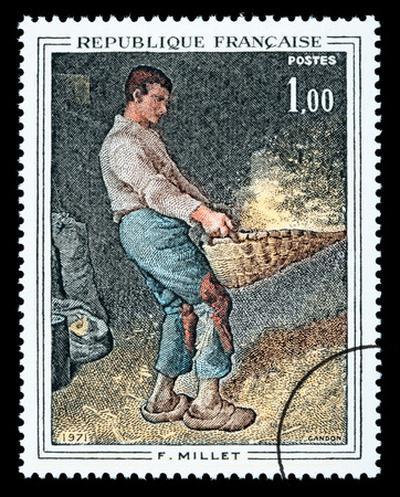 FRANCE - CIRCA 1971: A postage stamp printed in France showing a painting by Jean-François Millet, circa 1971