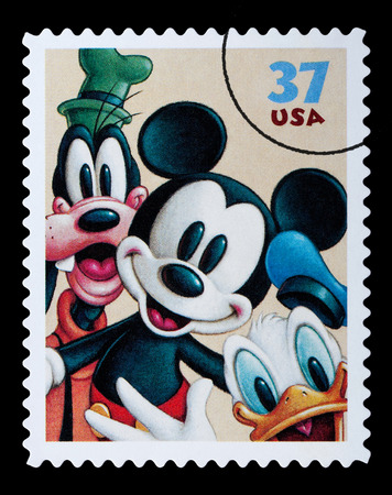 donald: UNITED STATES AMERICA - CIRCA 2004: A postage stamp printed in the USA showing Disney characters, circa 2004