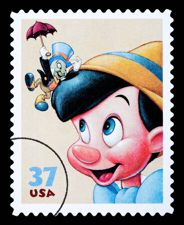 UNITED STATES AMERICA - CIRCA 2004: A postage stamp printed in the USA showing the Disney character Pinocchio, circa 2004