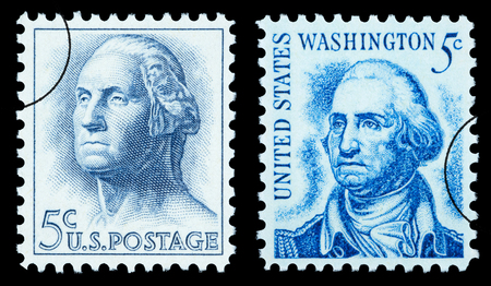 UNITED STATES AMERICA - CIRCA 1970: A pair of postage stamp printed in the USA showing George Washington, circa 1970