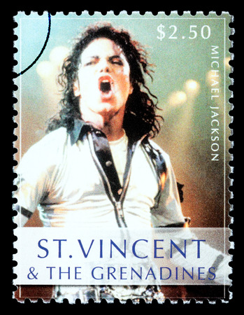 jackson: ST. VINCENT - CIRCA 2010: A postage stamp printed in Saint Vincent showing Michael Jackson, circa 2010