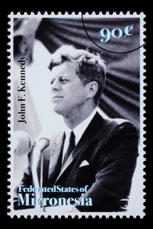 jfk: FEDERATED STATES MICRONESIA - CIRCA 1990: A postage stamp printed in FSM showing John F. Kennedy, circa 1990 Editorial