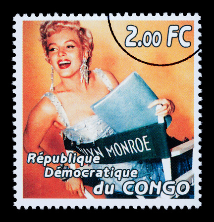 CONGO REPUBLIC - CIRCA 2005: A postage stamp printed in the Republic of Congo showing Marilyn Monroe, circa 2005
